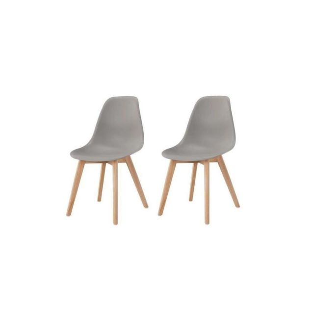 SACHA Lot de 2 chaises de salle a manger gris Pieds en bois hévéa massif Scandinave L 48 x P 55 cm