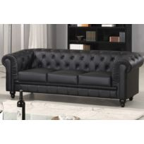 cote cosy canap chesterfield 3 places cuir pu noir - Canape Chesterfield Rouge Cuir