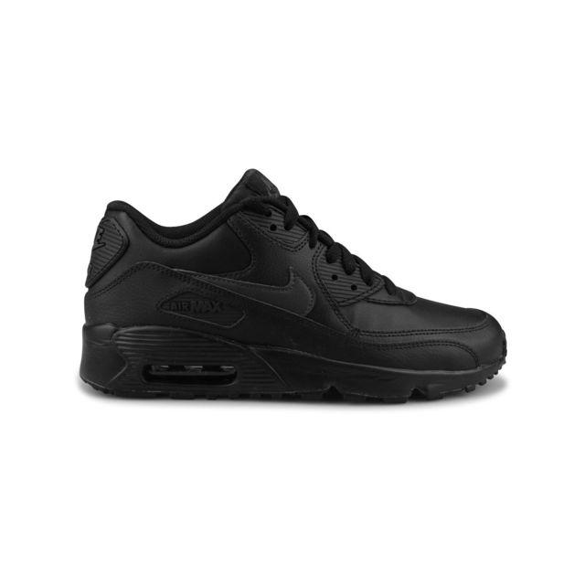 Nike Air Max 90 Leather Junior Noir pas cher Achat