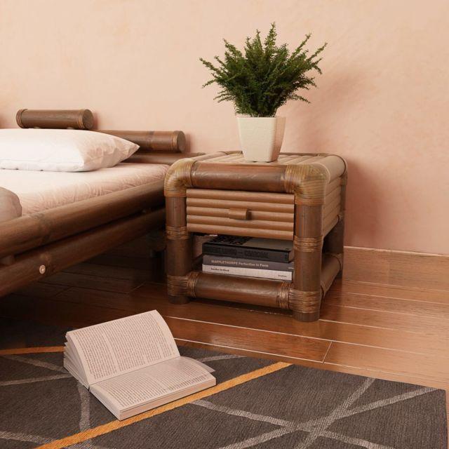 Vidaxl Table de chevet 50 x 45 x 40 cm Bambou Marron foncé