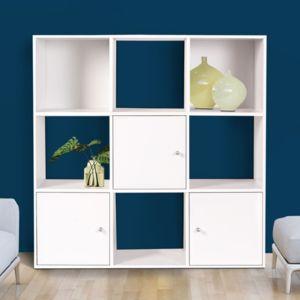 Idmarket meuble de rangement cube 9 cases bois blanc for Meuble 9 cases blanc