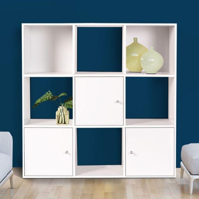idmarket meuble de rangement cube 9 cases bois blanc avec 3 portes pas cher achat vente. Black Bedroom Furniture Sets. Home Design Ideas