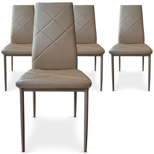 lot de 4 chaises paule taupe pas cher achat vente chaises rueducommerce. Black Bedroom Furniture Sets. Home Design Ideas