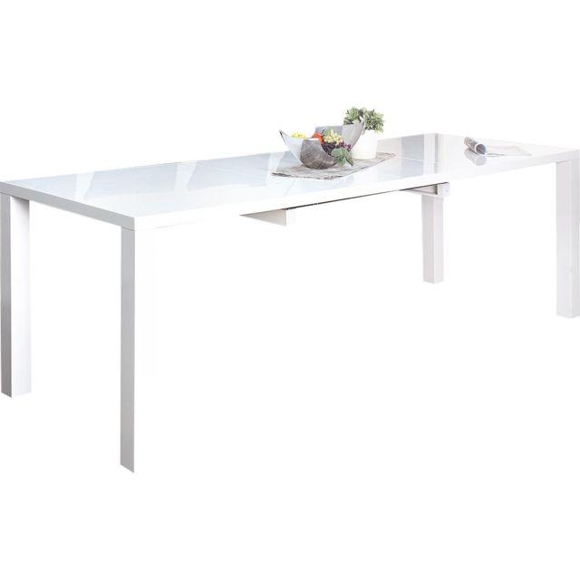 Comforium Table de salle à manger extensible 160-240 cm design coloris blanc laqué