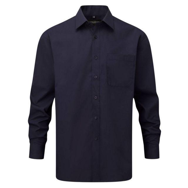 Fashion Cuir Chemise popeline poche poitrine Couleur - bleu foncé, Taille Homme - Xxl