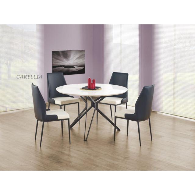 Carellia Ensemble Table A Manger Ronde Pixel + 4 Chaises