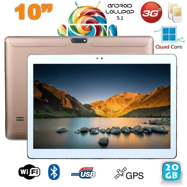 Yonis Tablette 10 pouces 3G Android 5.1 Lollipop Dual Sim Quad Core 20Go Or