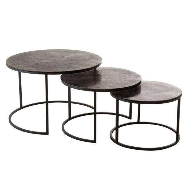 Tousmesmeubles Tables gigognes rondes Métal noir - Zandvort