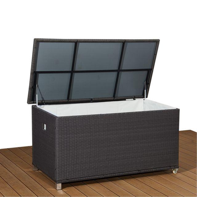 ims garden coffre de jardin aluminium r sine tress e 790l poign e et roulettes gris kuba. Black Bedroom Furniture Sets. Home Design Ideas