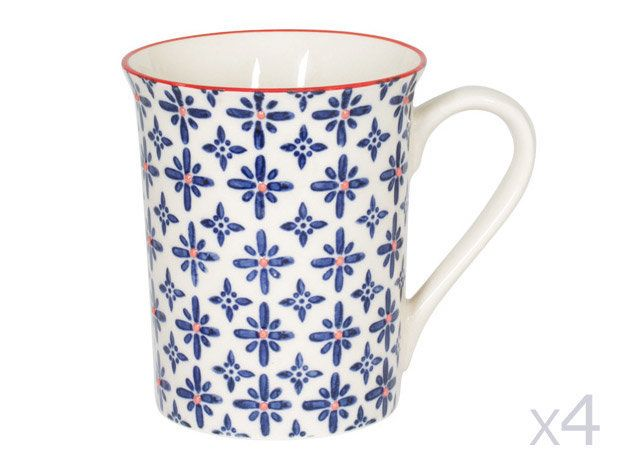 Table Passion Mug en céramique 25cl motifs rosaces bleu et orange - Coffret de 4 pièces Ushuaia