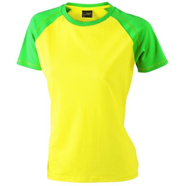 7619d6647f0f James   Nicholson - T-shirt bicolore pour femme Jn011 - jaune et vert