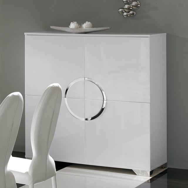 Kasalinea Buffet haut blanc laqué 4 portes design Isaac