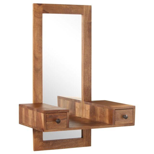 Vidaxl Miroir cosmétique avec 2 tiroirs Bois solide de Sesham