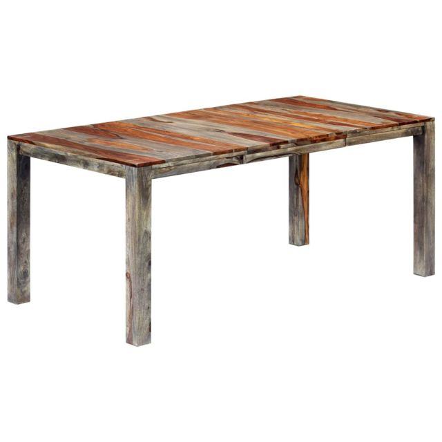 sublime Tables selection Brasilia Table de salle à manger Gris 180x90x76 cm Bois de Sesham solide