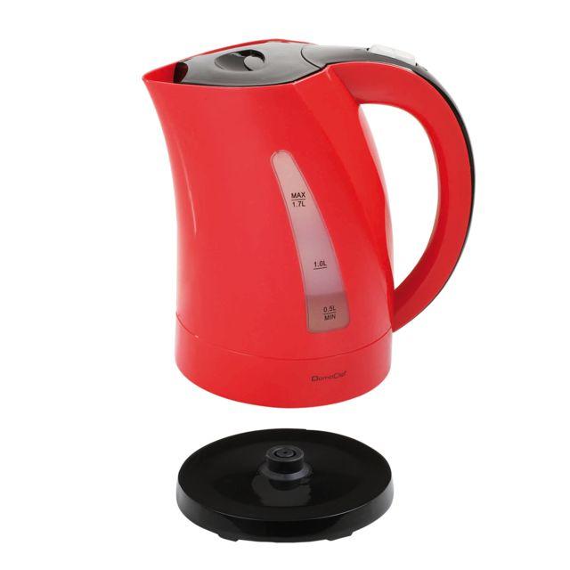 DOMOCLIP Bouilloire électrique bicolore rouge/noir DOM298RN Bouilloire sans fil - Base pivotante sur 360° - Capacité de 1,7 L - Puissance de 2200 W - Réservoir d'eau visible - Interrupteur d'arrêt automatique - Emplacem