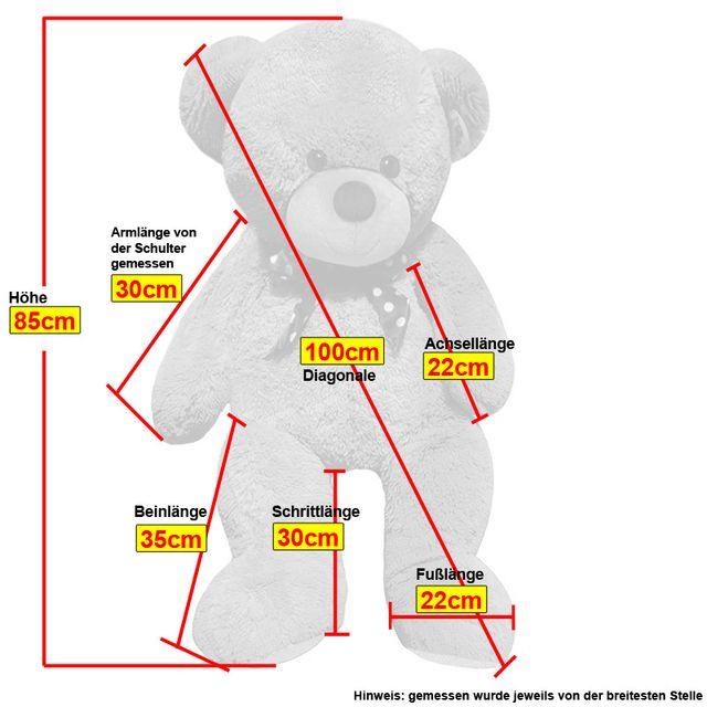 Rocambolesk - Superbe Grand Nounours Ours Peluche Géant Ourson 100Cm diag Xxl Teddy Bear Blanc neuf