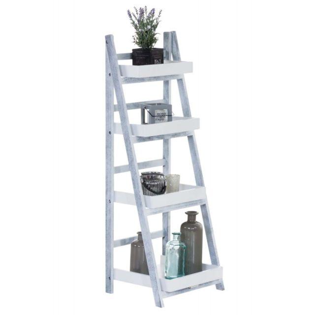 Meuble Rangement Escalier decoshop26 - echelle étagère escaliers 4 niveaux en bois pliable