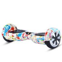 Air Rise - Hoverboard 6,5 Pouces Graffiti Blanc Bluetooth+ sac de transport+ télécommande