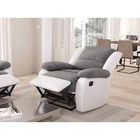 Usinestreet - Fauteuil Relaxation 1 place Microfibre Grise / Simili cuir Blanc Detente