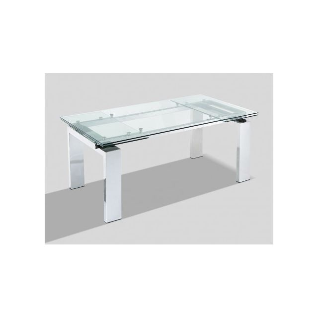 Marque generique table manger extensible lubana verre tremp m tal 8 10 couverts for Carrefour table a manger