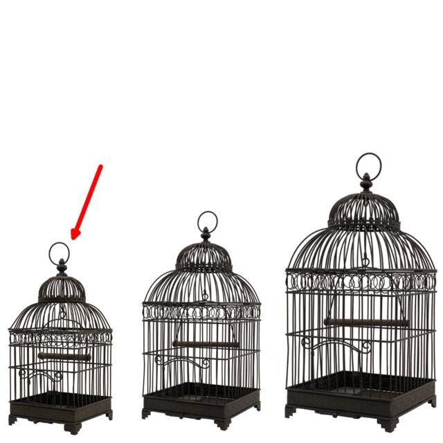 L'ORIGINALE Deco Petite Cage à Oiseaux en fer Carré Marron 40 cm x 16.50 cm x 16.50 cm