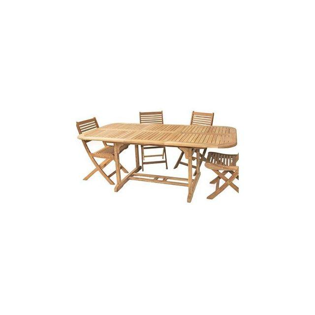 Delamaison - Table rectangle Vence 150/200 en Teck Fsc - pas cher ...