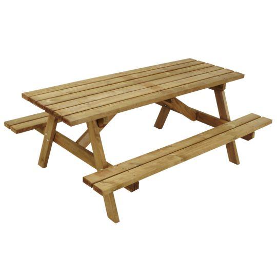 Ensemble Pique-nique - Table avec bancs de jardin - Bois ...