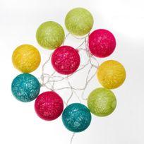 Atmosphera - Guirlande lumineuse 10 boules vives Led à piles