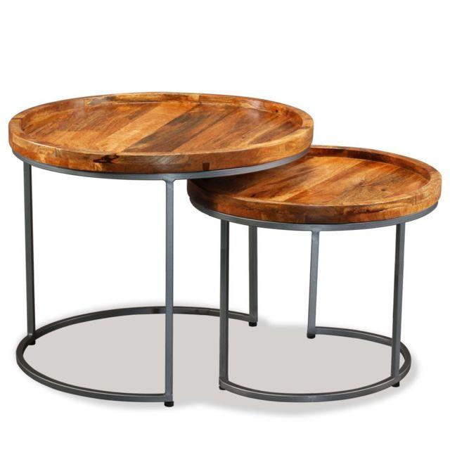 ICAVERNE Chic Consoles collection Luxembourg Ensemble de tables d'appoint 2 pcs Bois de manguier massif
