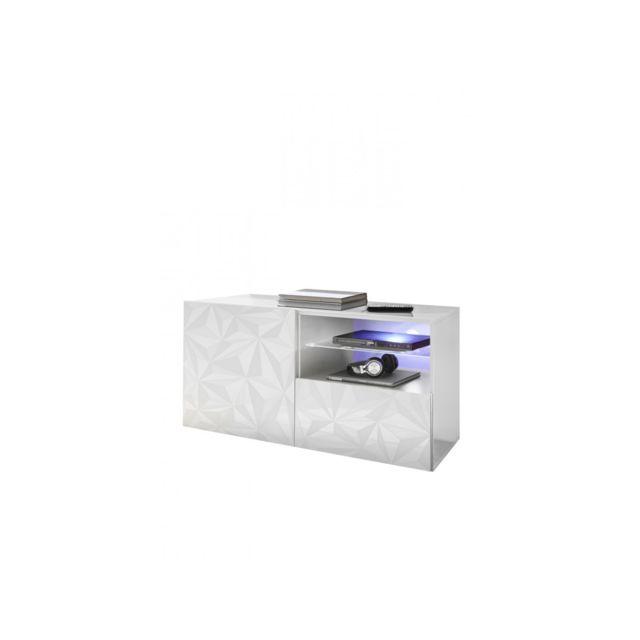 Subleem Meuble Tv petit 1 porte 1 tiroir Vione blanc laqué brillant