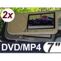 Bcelec - 2 X Ecrans 7'' pare-soleil, Lecteur Dvd/MP4/USB/SD intégrés, Beige