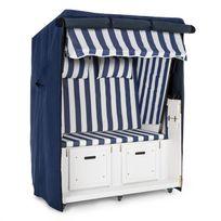 BLUMFELDT - Set Abri plage cabine chaise longue 2 places housse/roulettes - bleu