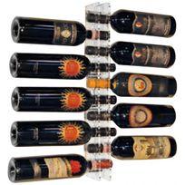 Sobrio - Support mural en plexiglas transparent pour 10 bouteilles - Plexiglas transparent Aci-sbr100
