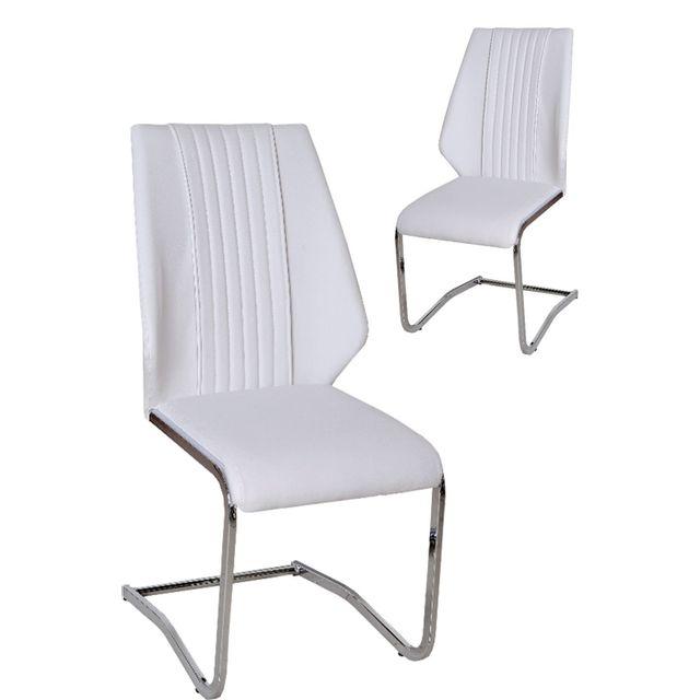 Comforium Lot de 2 chaises ultra modernes pvc blanc et pieds en acier chromé