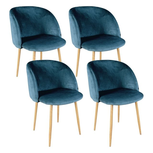 Zons lot 4 chaises salle a manger en velours 55 for Chaise zons