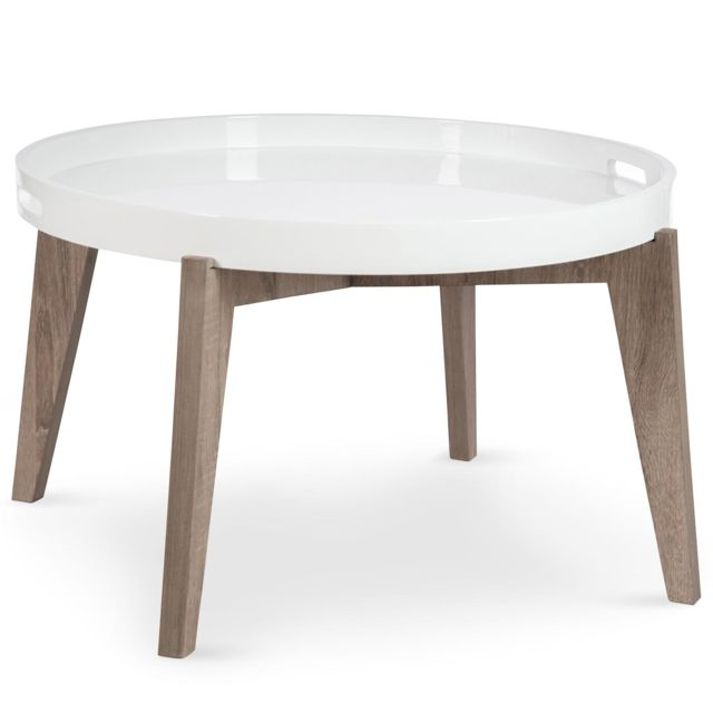 Menzzo Table Basse Scandinave Sven A Plateau Amovible Blanc
