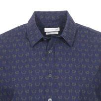 aec8da33703 Harris Wilson - Chemise ajustée Dexter en coton bleu marine à motifs rennes  jaune moutarde. Plus que 2 articles