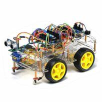 - Tbs2653 Kit de montage complet Arduino Voiture Robot 4WD intelligente avec détecteurs d'obstacles à ultrason et infrarouge - Kit d'apprentissage Dyi programmable - 4WD Arduino Smart Car Robot Learning Starter Kit Smart Programmable Robot Diy Fr