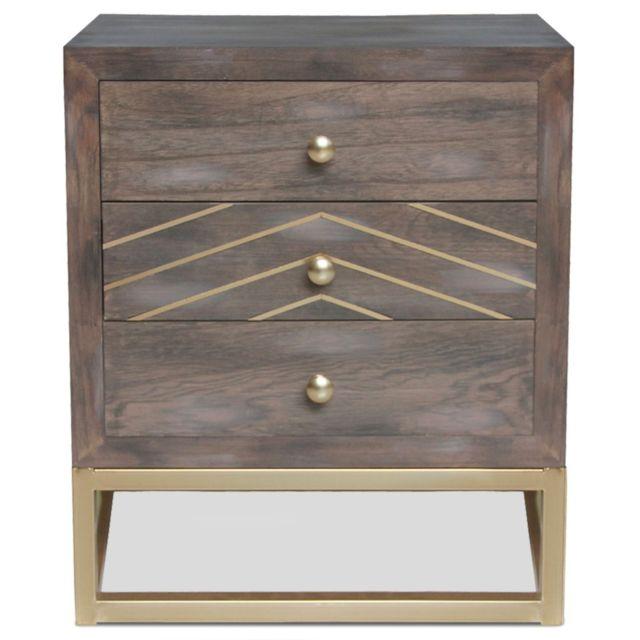 MENZZO Table de chevet Lipnia scandinave 3 tiroirs Bois vintage