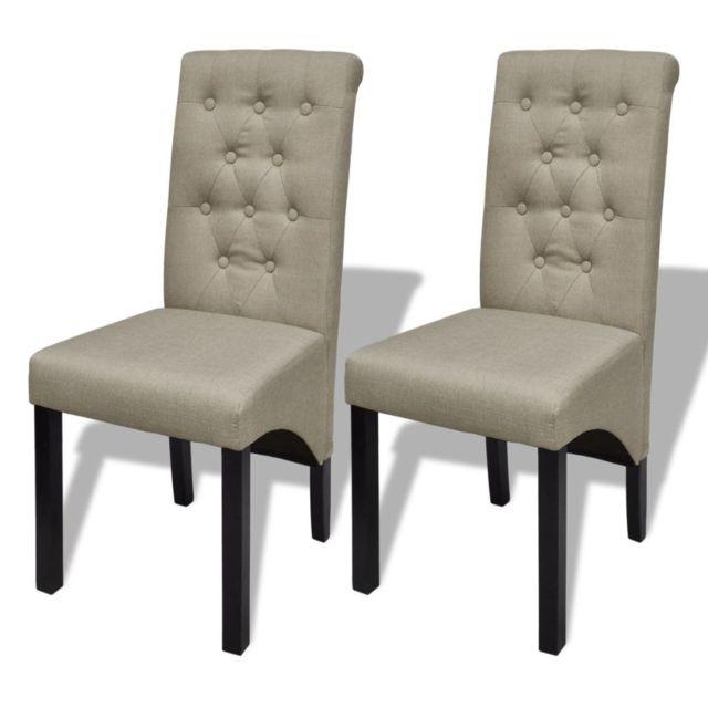 Chaise de salle à manger 2 pcs Tissu Beige 240556 | Beige