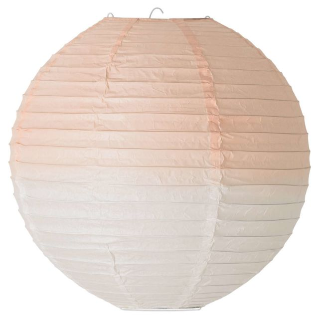 Bloomingville Suspension Luminaire en Papier ø 25 cm - Dip Dye Blanc/Rose