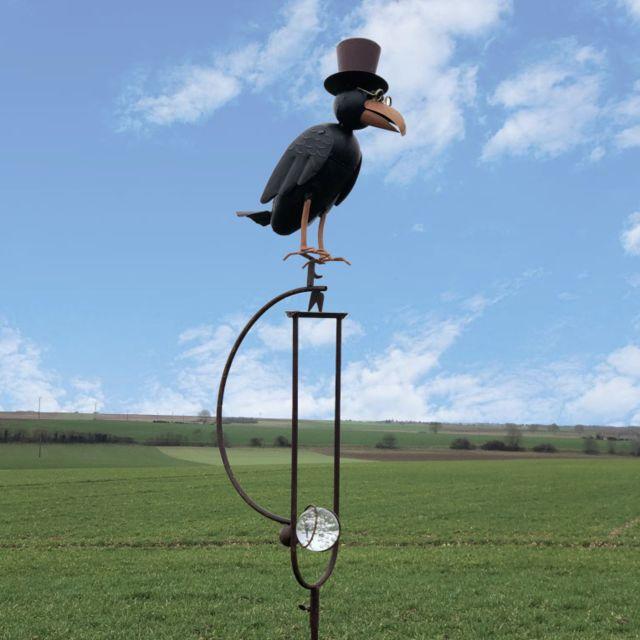 L'ORIGINALE Deco Corbeau à Balancier Fer Mobile de Jardin à Bascule Métal 156 cm x 33 cm x 11 cm