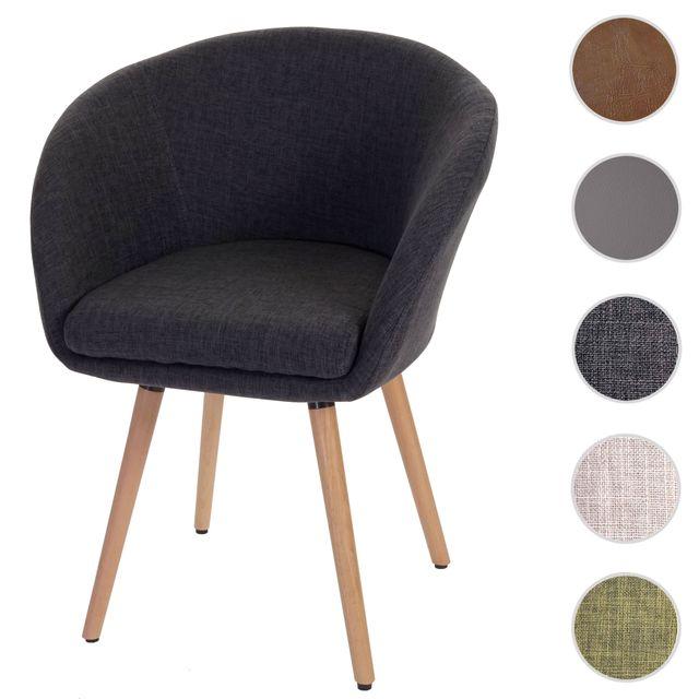 Mendler Chaise de salle à manger Malmö T633, fauteuil, design rétro des années 50 ~ tissu, gris foncé