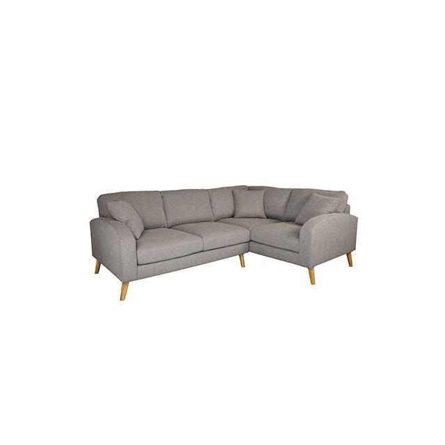 Canapé angle droit en tissu gris - Asene