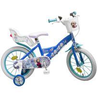 """Disney - Vélo 16"""" Licence """"Reine des Neiges"""" pour enfant de 5 à 7 ans avec stabilisateurs à molettes"""