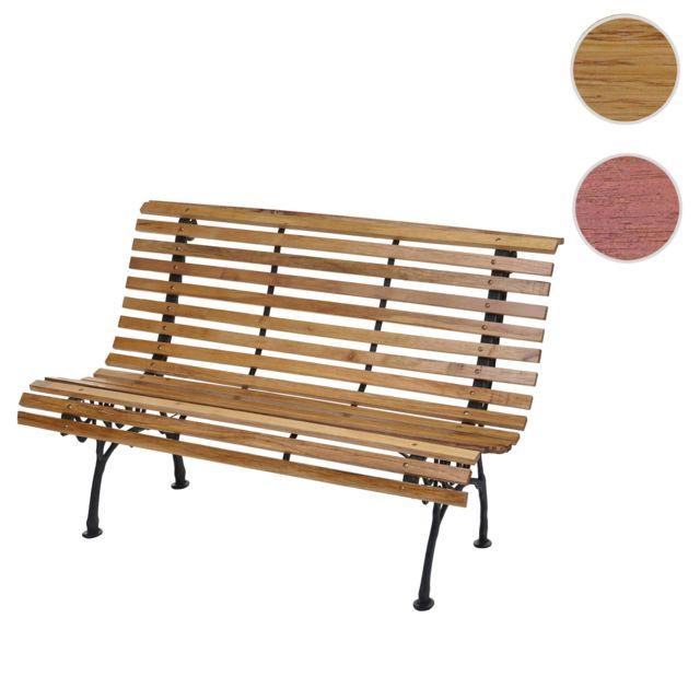 Mendler Banc de jardin Hwc-f97, banc du parc, banquette en bois, fonte, 3 places, 122cm, 22kg ~ marron clair