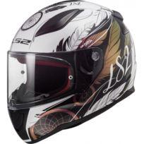 d4b9277a6f5 LS2 - casque moto intégral FF353 RAPID BOHO femme blanc noir rose brillant