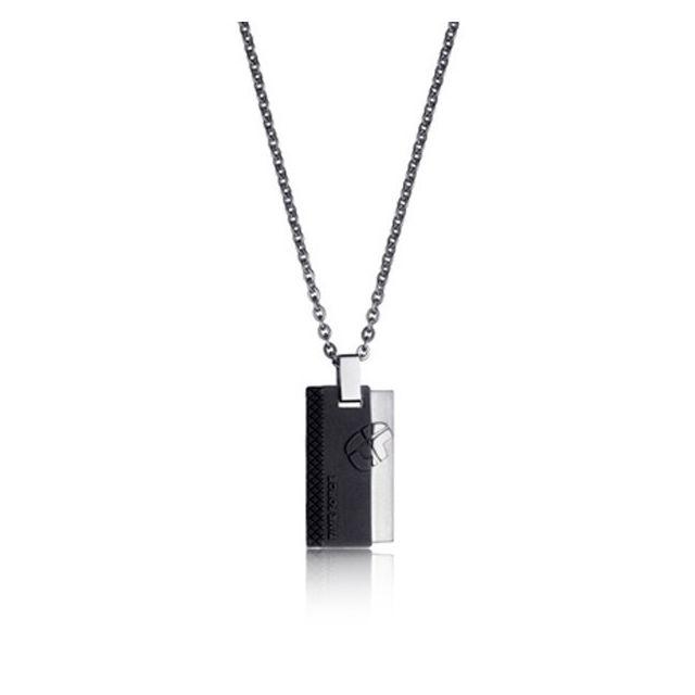 5d4ceda9aab Collier en acier noir et argent à pendentif pour homme 56 cm Bijou homme  cadeau idée cadeau - pas cher Achat   Vente Pendentifs et médailles -  RueDuCommerce