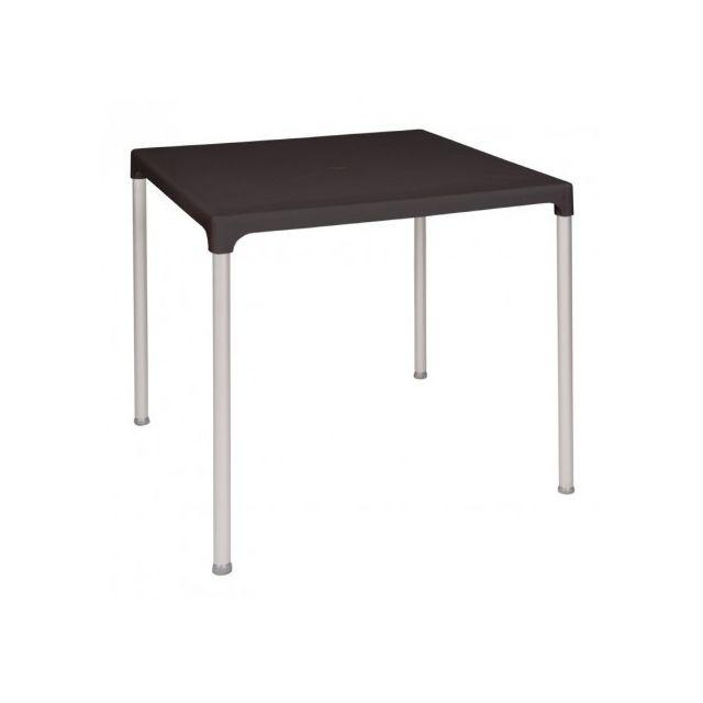 Materiel Chr Pro Table carrée noire 750 mm avec pieds aluminium Bolero - Noir