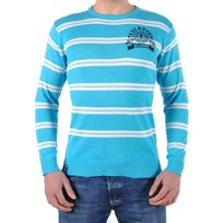 Beandbe Touchdown - Pull Be And Be Touchdown à Rayures Turquoise / Blanc / Navy